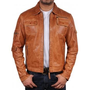 Men's  Leather Jacket Tan - Hazard