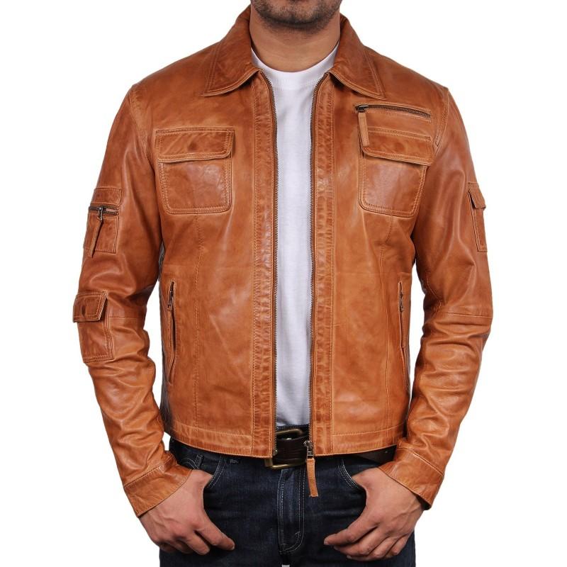 327519f5ef54 Men s Tan Leather Jacket - Hazard. Loading zoom