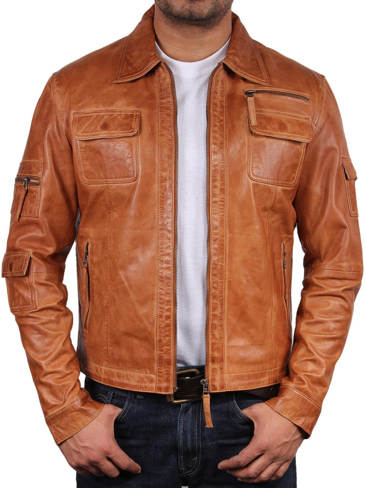 7916f7cb4 Mens Leather Biker Jacket Genuine Lambskin Leather