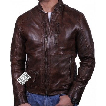 Men's Leather Biker Jacket Brown - Calvin