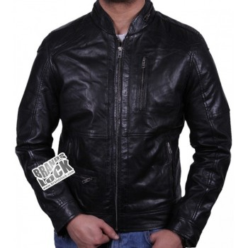 Men's Leather Biker Jacket Black - Calvin
