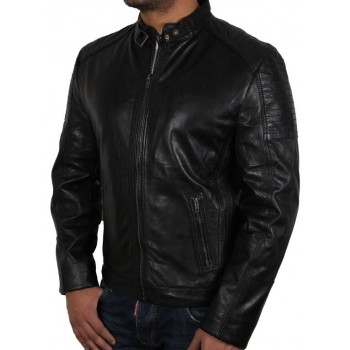 Men's  Leather Biker Jacket Black  - Eastwood