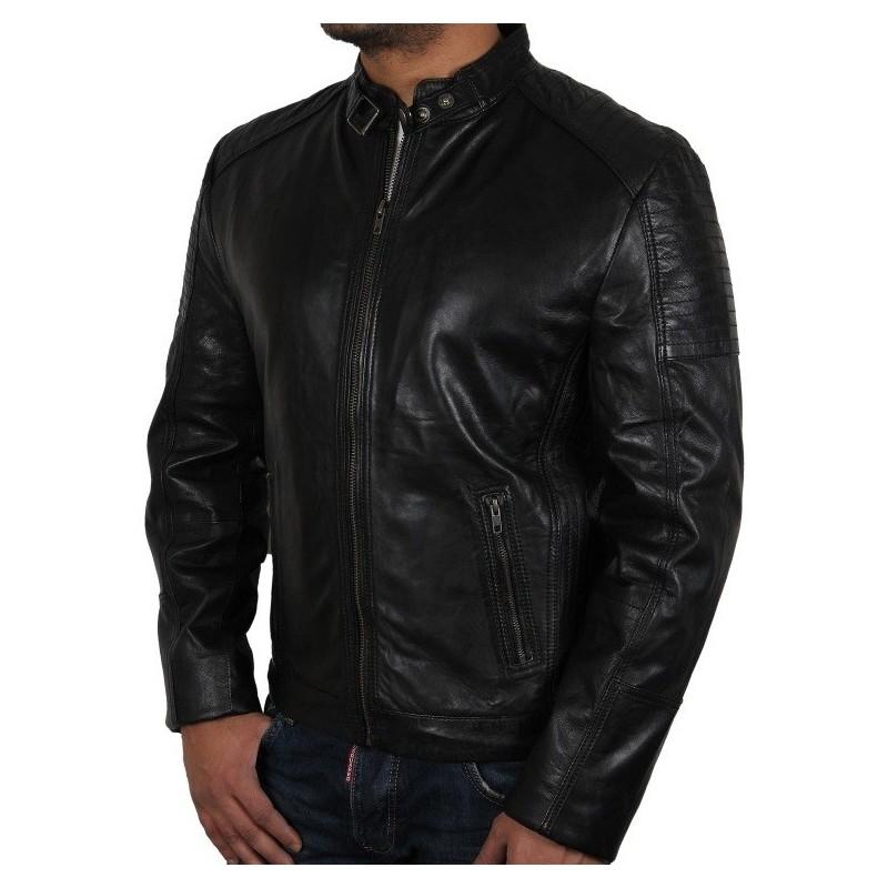 Buy Men S Black Leather Biker Jacket Eastwood Online Brandslock Shop