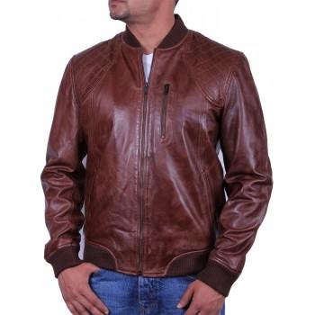 Men's Leather Bomber Jacket Brown- Detroit