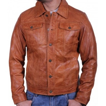 Men's  Leather Jacket Tan - Aaron