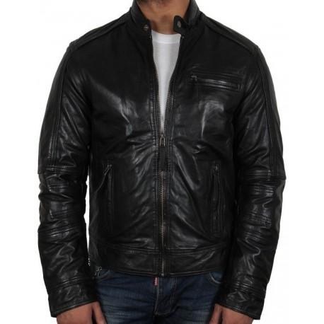 Men's Black Leather Jacket - Liam
