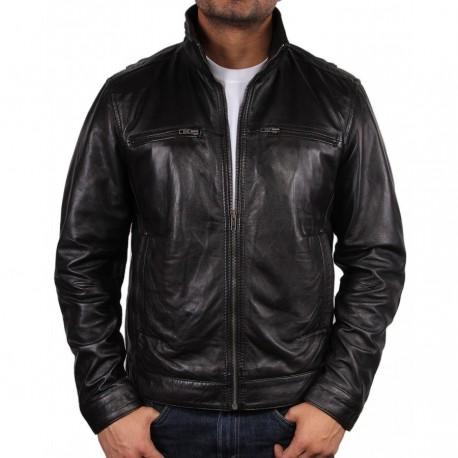Men's Black Leather Jacket - Chicago