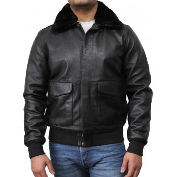 Mens Biker Jacket  Black- Albert