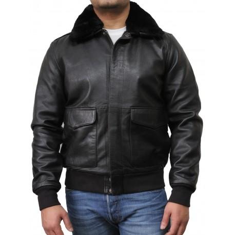 Mens Black Biker Jacket-Albert