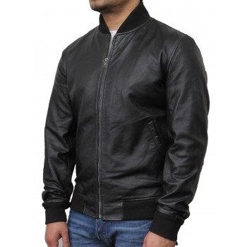 Mens  Leather Jacket Black - Bret
