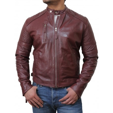 Men S Brown Biker Leather Jacket Cary