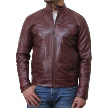Mens  Leather Biker Jacket Brown  - Colin