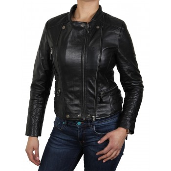 Womens  Biker Jacket Black - Agnes