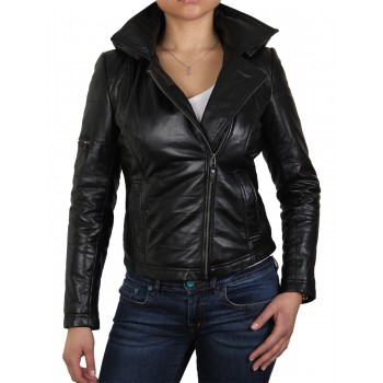 Womens Detachable Hooded Real Leather Black Biker Jacket