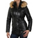 Womens Black Removable Collar  Real Leather Biker Jacket