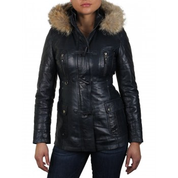 Womens Navy Removable Collar  Real Leather Biker Jacket