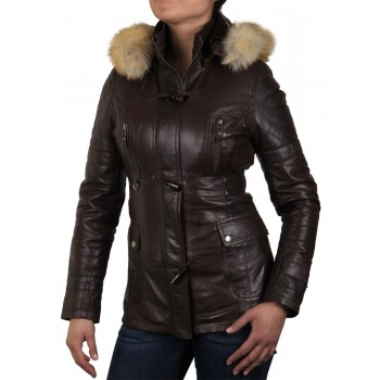 Womens Brown  Removable Collar  Real Leather Biker Jacket