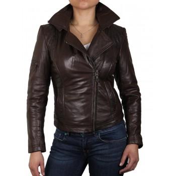 Womens  Biker Leather Jacket Black - Carol