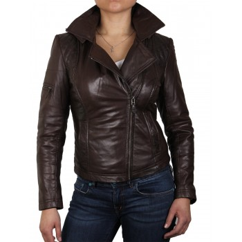 Womens Detachable Hooded Real Leather Brown Biker Jacket