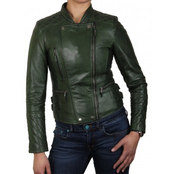 Womens  Biker Leather Jacket Green - Connie