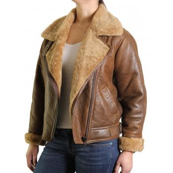 Vintage Womens Warm Sheepskin Real Leather Biker Jacket