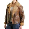Vintage Womens Warm Sheepskin Real Leather Biker Jacket