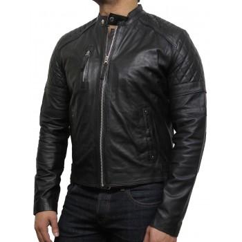 Men's Leather Biker Jacket Black - Cary