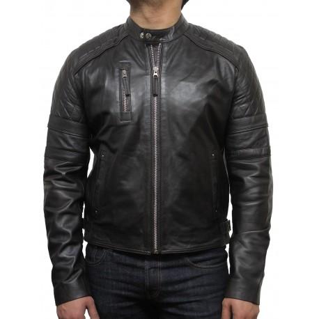 Men's Leather Biker Jacket Brown - Cary