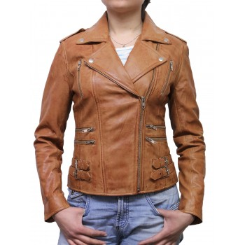 Women Tan Classic Real Leather Biker Jacket Designer Look