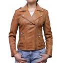 Women Tan Classic Real Leather Biker Jacket Designer Look