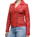 Women Red Classic Real Leather Biker Jacket Designer Look