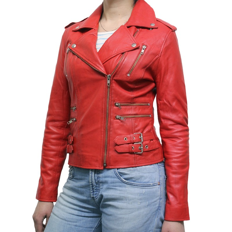 5639431a4 Women Red Classic Real Leather Biker Jacket Designer Look