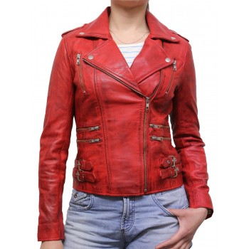 Women Leather Biker Jacket - Moss