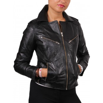 Women  Leather Biker Jacket Brown - Kristy