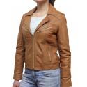 Women  Leather Biker Jacket Brown - Kristy