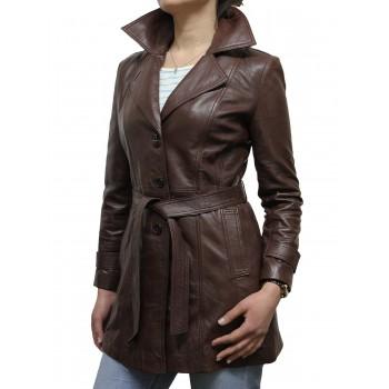 Women Leather Blazer Jacket Brown  - West
