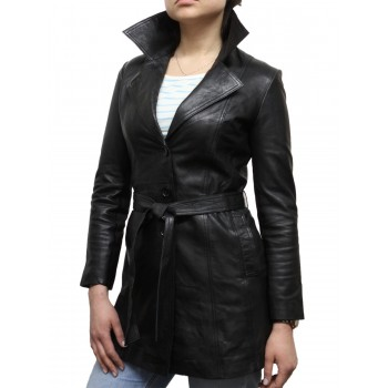 Vintage Women Original Coat Style Leather Black Biker jacket