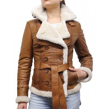 Women Tan Real Leather Blazer Shearling Sheepskin Jacket