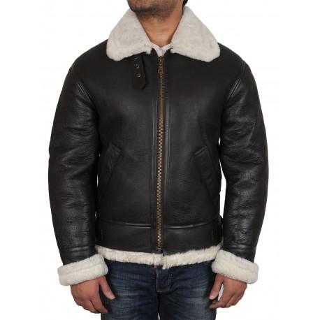 Men's Real Shearling Sheepskin Leather Flying Jacket Aviator BNWT