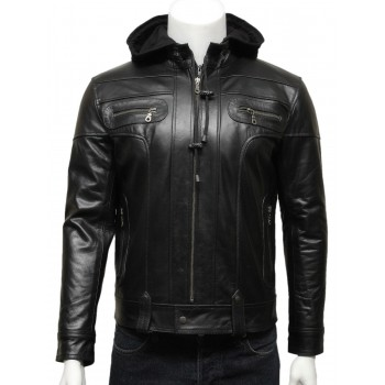 Mens  Hooded Leather Biker Bomber Jacket Black -Bram