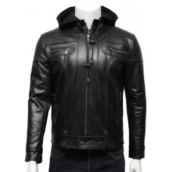 Mens  Hooded Leather Biker Bomber Jacket Black -Bram