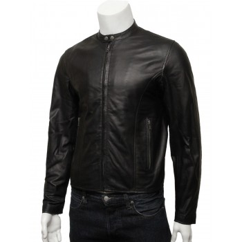 Mens Real Leather  Biker Jacket Black -Levi