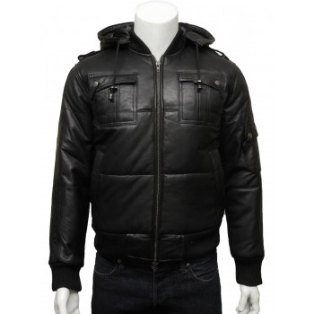 Mens Classic Retro Puffed Leather Biker jacket  Black -Daan