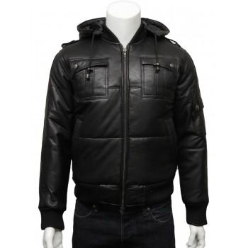 Mens Classic Retro Puffed Leather Biker jacket  Black -Daan