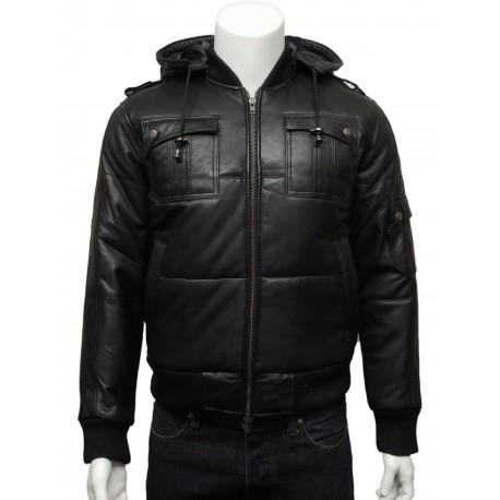 Mens Classic Retro Black Puffed Leather Biker Jacket -Daan