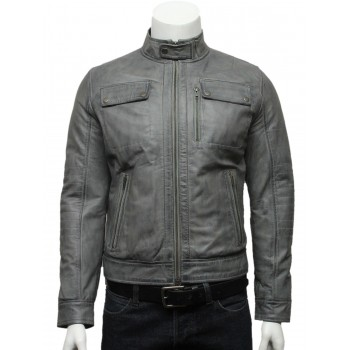 Mens  Classic Leather Biker Bomber Jacket Black -Pedro