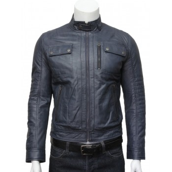Mens  Classic Leather Biker Bomber Jacket Grey -Pedro