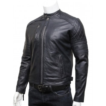 Mens Classic Leather Biker Bomber Jacket Navy Blue - Riley