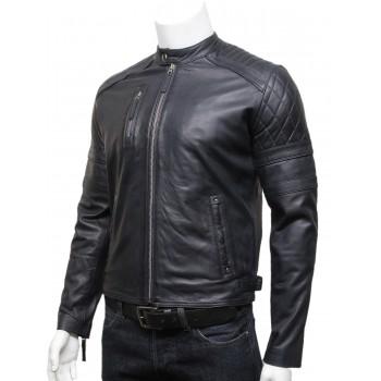 Mens Classic Leather Biker Bomber Jacket Navy Blue - Riley
