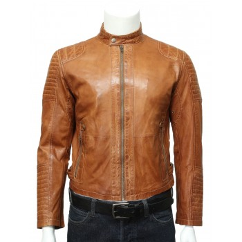 Mens  Leather Biker Bomber Jacket Tan -Jaxon